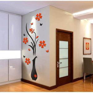 3D Flower Beautiful DIY Mirror Wall Stickers Waterproof Decals Living Vinyl Decor Removable Decoration