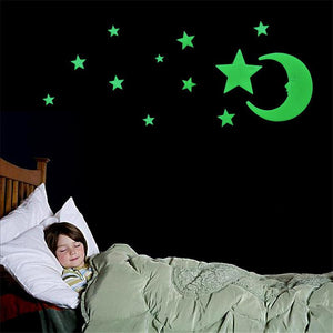 Luminous Stars Moon Fluorescent Wall Stickers Decorative Stereoscopic Kid Wall Decal