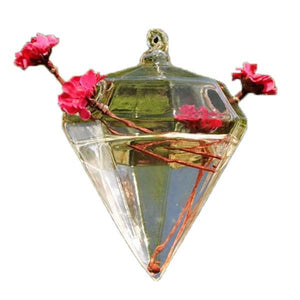Clear Glass Diamond Shape Flower Plant Stand Hanging Vase Hydroponic Container Wedding Christmas Home Decoration Accessories