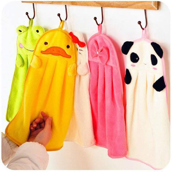 Cute Animal Microfiber Kid Cartoon Absorbent Hand Towel Bathroom Use