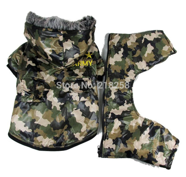 Cute Camouflage waterproof windbreaker four legs Pet Dogs Coat By post Dogs clothes