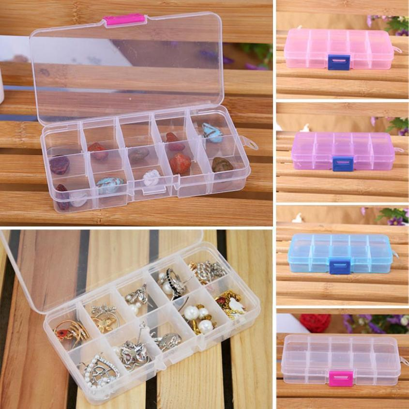 Qualified 10 Grids Adjustable Jewelry Beads Pills Nail Art Tips Storage Box Case Levert dig635