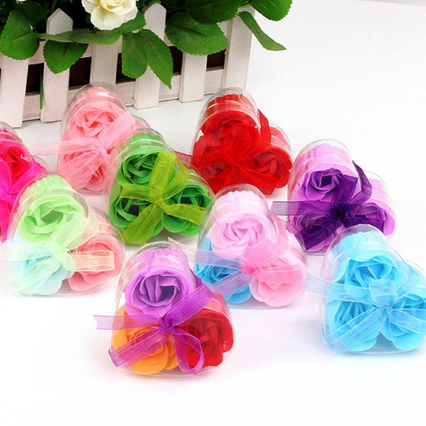 Qualified 3Pcs Scented Rose Flower Petal Bath Body Soap Wedding Party Levert dig6912
