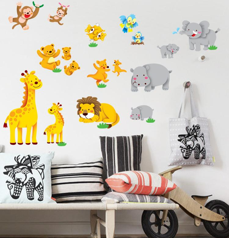 style animal wall stickers for kid room removable vinyl wall decals poster