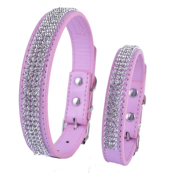 Personalized Pu Leather Dog-Collar Rhinestone Buckle Collars For Dogs Small Pet Dog Supplies Adjustable Red Pink Blue Purple