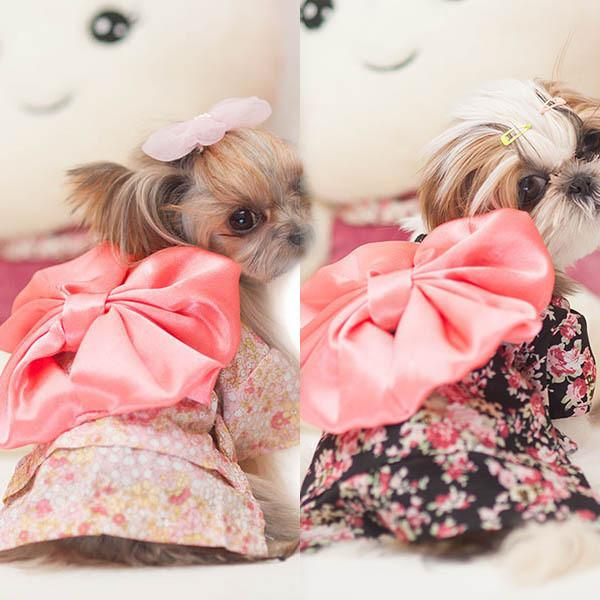 Pet Clothing Dog Dress Clothes Floral Japanese Kimono Bow Tie Shirt Costume Princess Dress