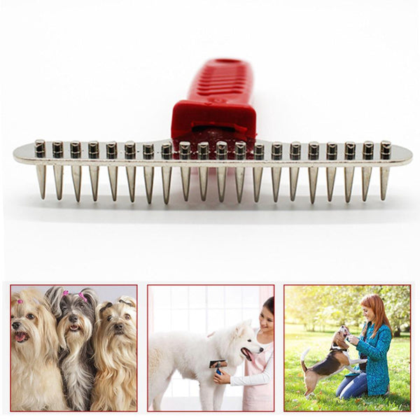 Pet Dog Cat Steel Pins Hair Grooming Trimmer Professional Sided Pet Hair Comb Removal Dog Rake Comb Dog Styling Tools