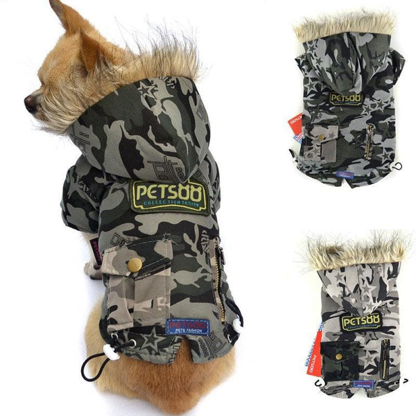 Pet Dog Puppy Cat Winter Warm Cotton Coat Camouflage Padded Coat Jacket Clothes