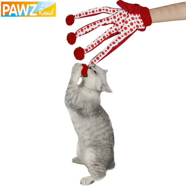 Pet Toy Cat Dog Toy Lovely Ball Funny Puppy Toy Cute Polka Dot Scratch Glove Toy Red Color 2016