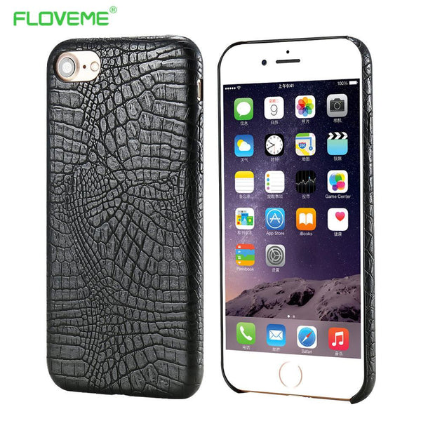 Phone Case For iPhone 7 7 Plus Luxury Matte Crocodile Pattern Slim Leather Cover For Apple iPhone 7 Plus Luxury Black Brown Capa