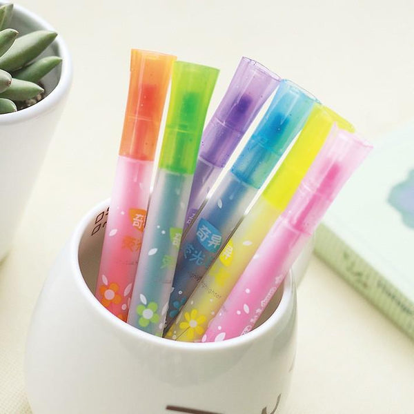 Pos Decor Props (6 Colors Can Chose) Star Oblique Colorful Gel Highlighter Pens for DIY Black Cards Scrapbook Po Album