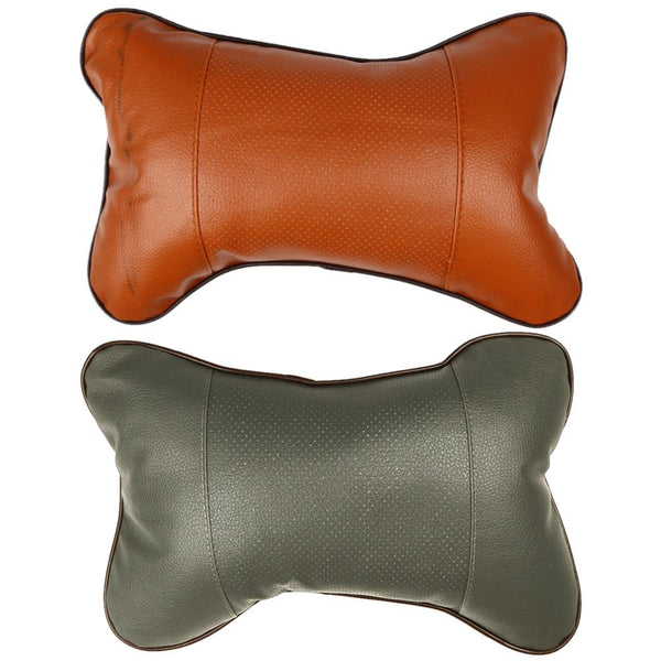 PVC Leather Car Headrest Pillow Hole-digging Neck Pillow Memory Foam Car Head Neck Rest Cushion Car Styling 2 Color