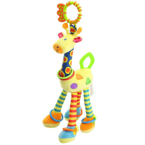Quality deer plush toys bed baby mobile hanging baby rattle toy giraffe with bell ring infant teether Toys