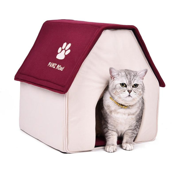 Red Green Cat House Soft Dog Bed Removable Puppy Kennel Cama Para Cachorro Kitten Home Pet Bed ProductsforAnimals Place to Sleep