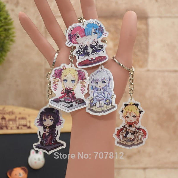 Rem Ram Re:Life in a different world from zero acrylic Keychain Action Figure 8 Styles Pendant Key Accessories RE002 LTX1