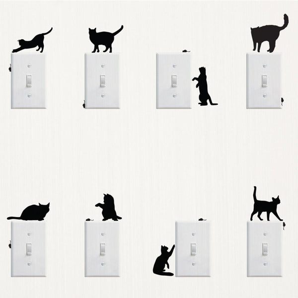 Removable DIY Home Decors Cat Butterflies Switch Stickers Wall Posters Murals Notebook Phone Cartoon Stickers Adesivos de Parede