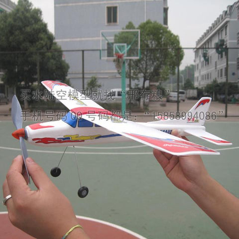 Rubber band powered airplane glider assembly plastic