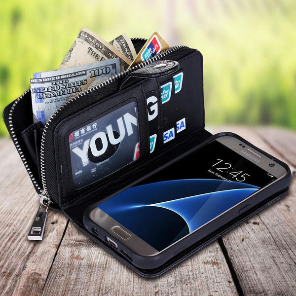 S7 Edge Case Multifunction 2 in 1 Detachable Zipper Wallet Case For Samsung Galaxy S6 Edge Case S7 S6 S5 S4 Purse Leather Cover