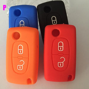 Silicone Case Bag Cover for PEUGEOT 2 Buttons 206 207 307 308 407 408 Key Fob car styling silicone car key case cover