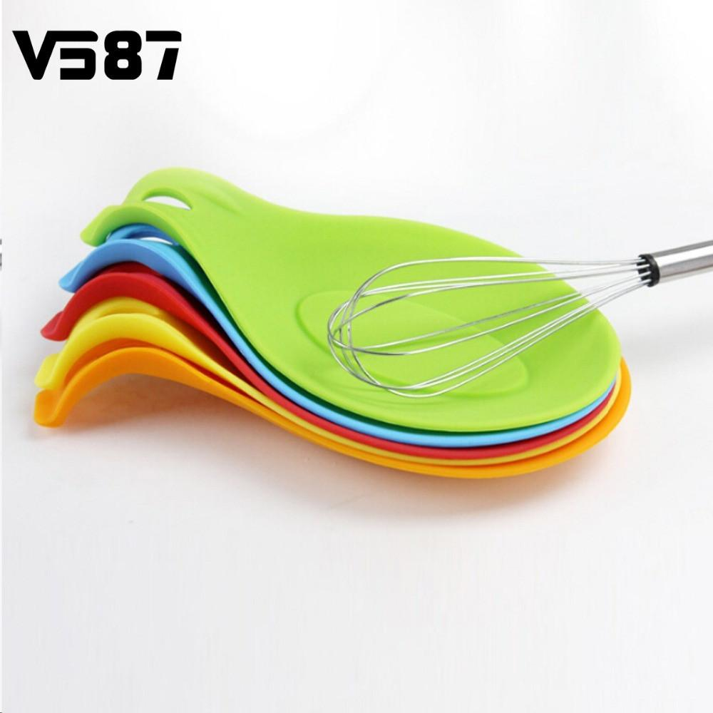 Silicone Spoon Rest Practical Heat Resistant Home Kitchen Utensil Spatula Holder Racks Colorful