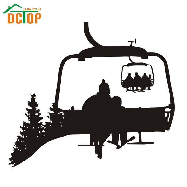 Ski Life Wall Decals Skier Sitting On The Bench Home Decor Wall Stickers Winter Sport Frame Wall Murals