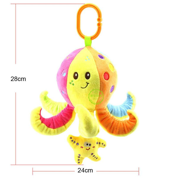 soft stuffed sea animal plush Toy baby rattles cartoon car hanging strollers musical toy octopus turtles tortoises