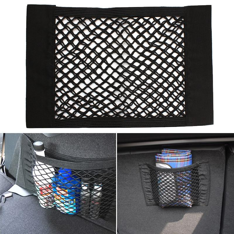 Strong Magic Tape Car Seat Back Storage Mesh Net Bag 40cm x 25cm Luggage Holder Pocket Sticker Trunk Organizer #EA10220