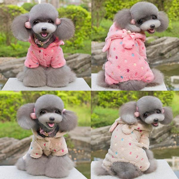 Stylish Puppy Pet Dogs Soft Warm Jumpsuit Coat Dots Bow Hoodie Fleece Clothes S-XXL