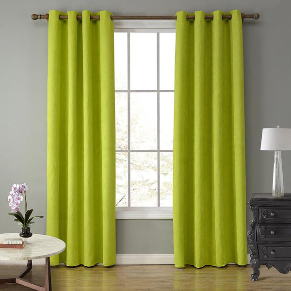 SunnyRain 1-Piece Suede Fabric Green Curtains For Living Room Semi Blackout Curtain For Bedroom Drapes Punching cotinas
