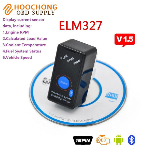 Super Mini ELM327 V1.5 Bluetooth Power Switch OBD2 Code Scanner ELM 327 for Android OBDII Diagnostic Tool