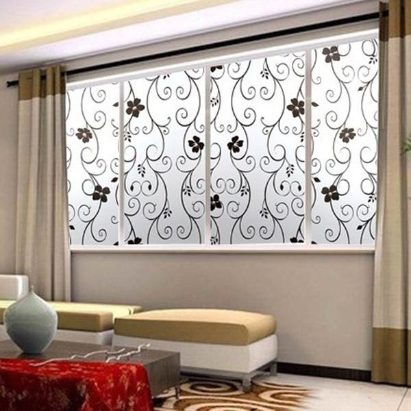Sweet Frosted Privacy Cover Glass Window Door Black Flower Sticker Film Adhesive Home Decor