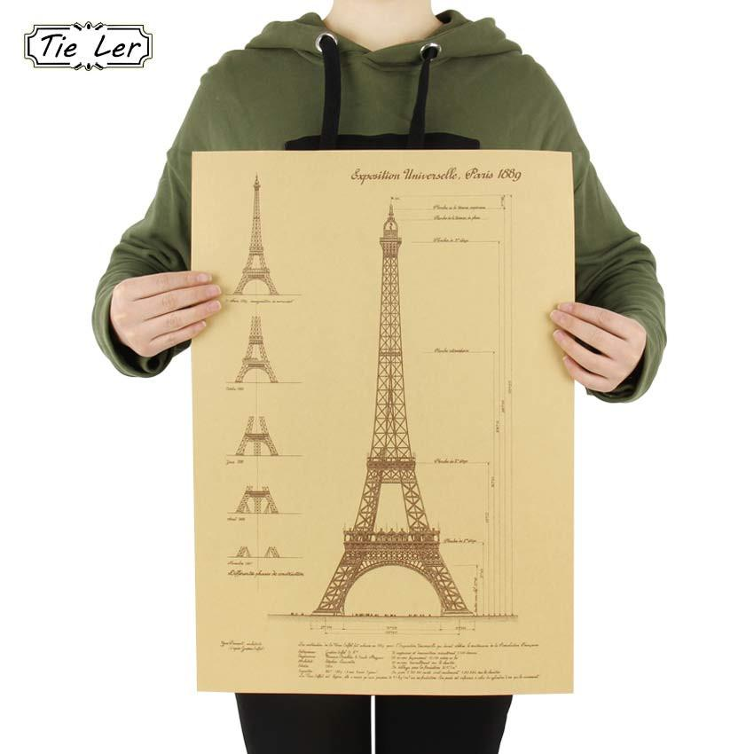 TIE LER Retro Kraft Paper Poster Hand Drawn Sketches Paris Tower Drawings Wall Stickers Home Decor Mural 51.5X36 CM