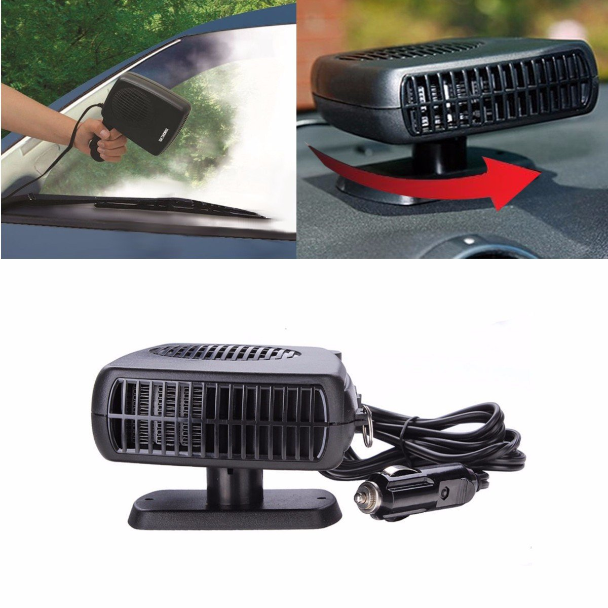 Top Quality 2 in 1 & Cold 12V Car Auto Vehicle Portable Ceramic Heater Heating Cooling Fan Defroster Black
