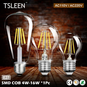 '+TSLEEN Real watt Vintage LED Edison Bulb E27 LED Filament Light Vintage LED Bulb Lamp 220V 110V Retro Candle Light 4w-16W