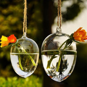 Unique Design Hanging Drop Round Egg Glass Clear Flower Vase Hydroponic Container Creative Exquisite