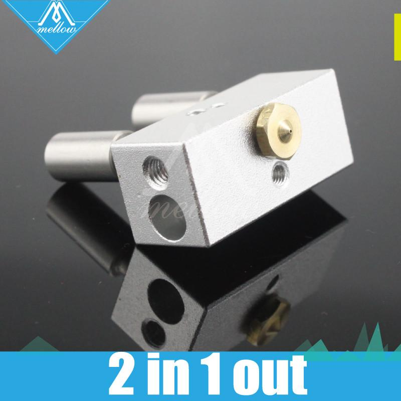 Upgraded For 3d Printer Multi Color Nozzle 2 In1 Out Cyclops Aluminium Heater Block 2pcs Throat 1.75mm