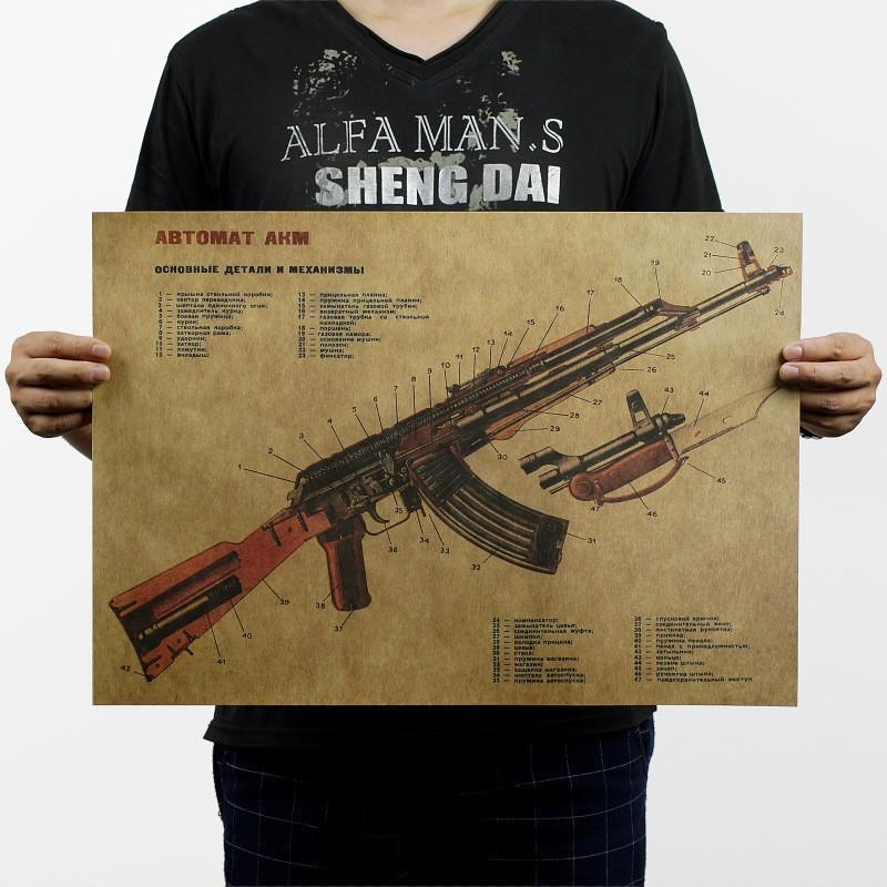 Vintage Retro AK47 Improved Structure Design Paper Poster 50 x 35cm Bar Wall Decoration