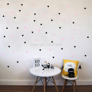 Wall Decors DIY Colorful Triangles Round Circles Stars Art Mural Decals Vinyl Stickers for Kids Room Bedroom