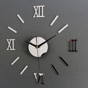 Wall stickers Clock 3D Home Decor DIY Silver Vintage Roman Numeral Number Frameless