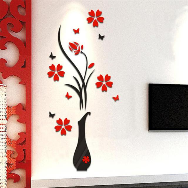 Wall Stickers Decal Home Decor DIY Vase Flower Tree Crystal Arcylic 3D Stickers u6930
