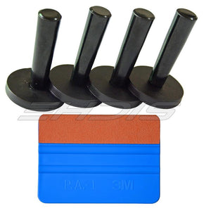Window Tinting Tool 4 Pieces Gripper Magnet Holder and 1 Piece 3M Felt Squeegee for Car Wrapping Vinyl Application
