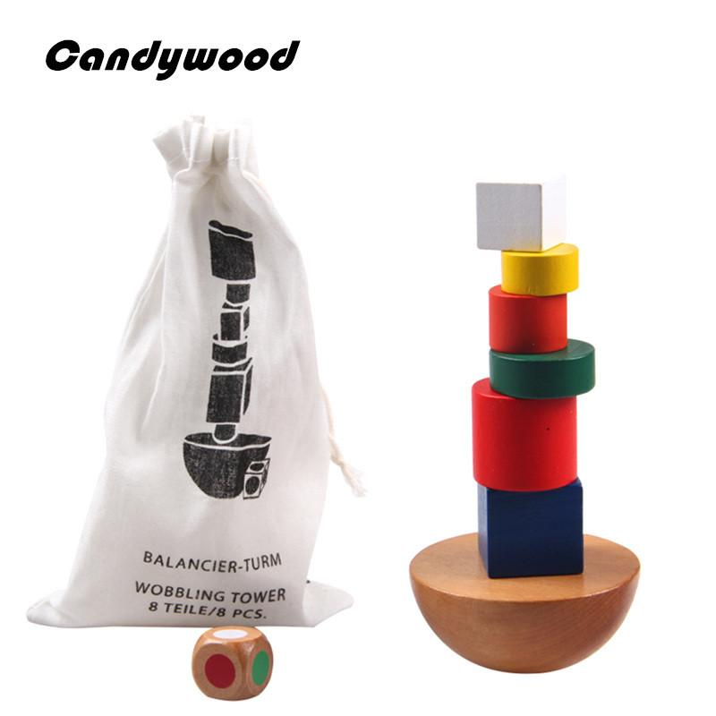 Wooden Geometric Blocks kids Balancing Game toys Montessori Learning Educational Toys For Children Family Game