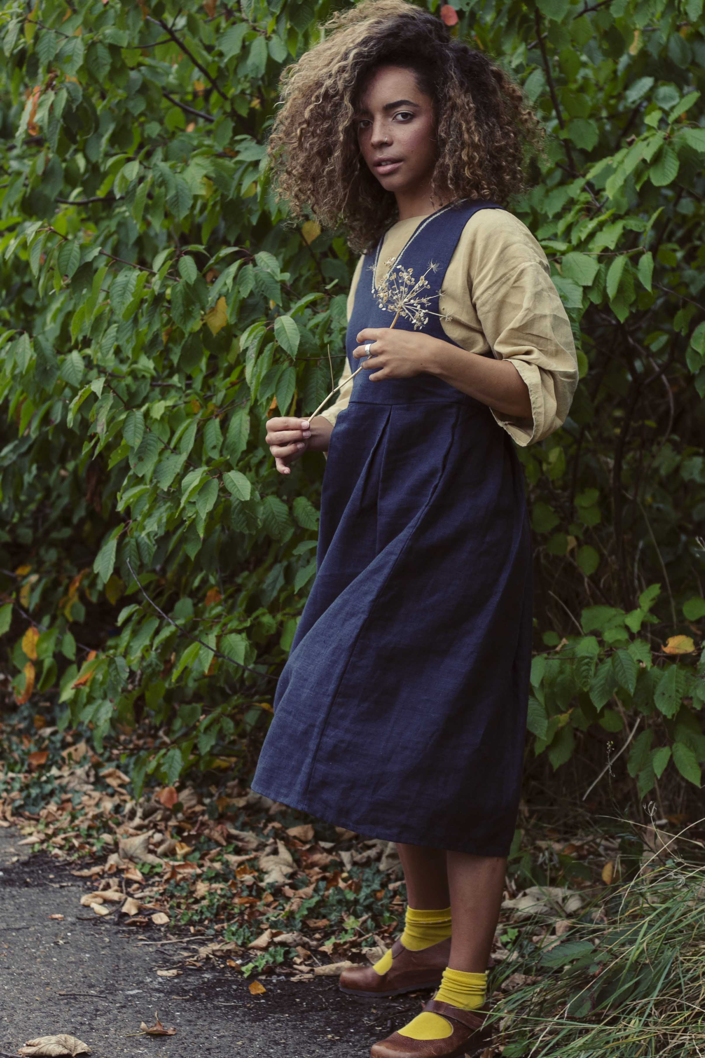 100% Linen Pinafore Dress with hand embroidery
