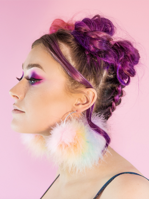 shop-trashy - Pastel Rainbow Fluffy Hoops - Shop Trashy - Hoop earrings