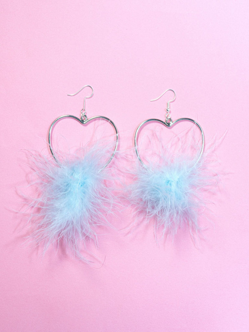Baby Blue Drop Fluff Heart Earrings
