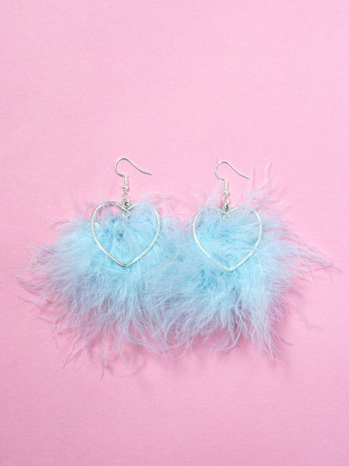 Baby Blue Mini-Heart Fluffy Earrings