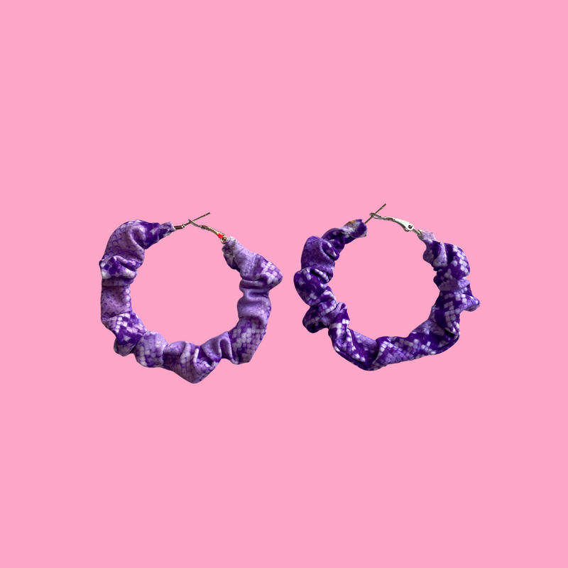 Lilac Snakeprint Scrunchie Hoops