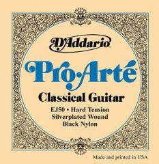 D'Addario EJ50 Pro Arte Black Trebles - Hard Tension Classical Guitar Strings