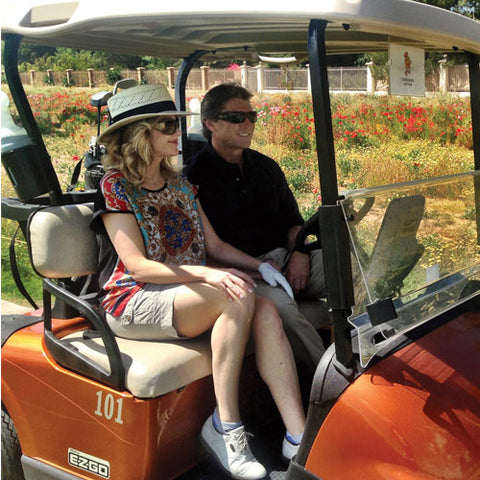 family staycation golf cart