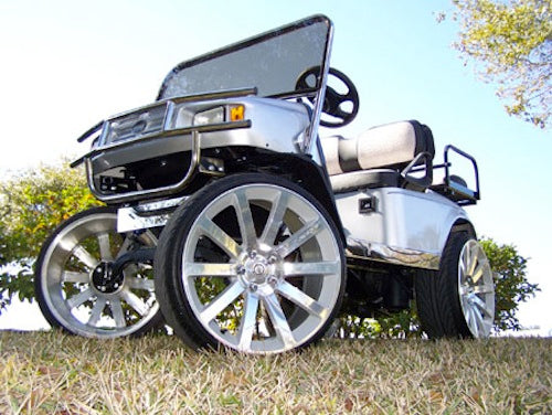 crazy golf cart with huge rims